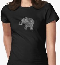 Little Leafy White Elephant Womens Fitted T-Shirt