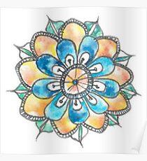 watercolour mandala doodle Poster