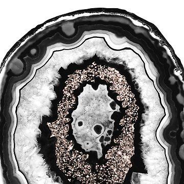 Gray Black White Agate with Rose Gold Glitter #3 #gem #decor #art  by anitabellajantz