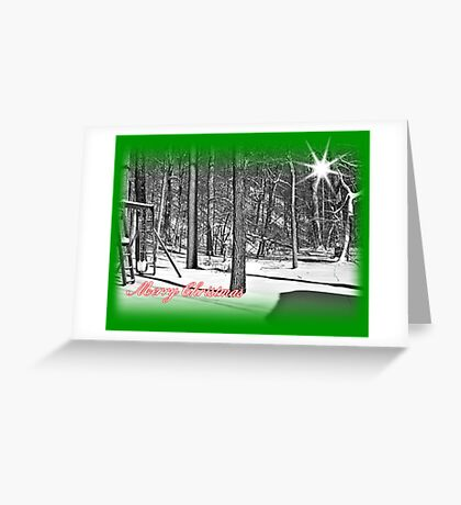 Snowy Merry Christmas Greeting Card