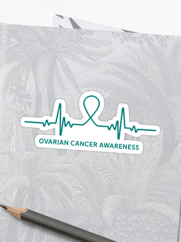 5ae1b292bbe Ovarian Cancer Awareness Ribbon Heartbeat T-Shirt Tee Gift Sticker Front