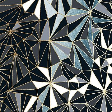Stylish Art Deco Geometric Pattern - Black, Blue, Grey and Gold #abstractart #decor by Dominiquevari
