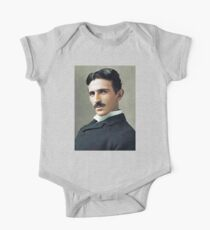TESLA, Colour Portrait, Nikola Tesla, Genius, Electric, Electricity, AC, One Piece - Short Sleeve