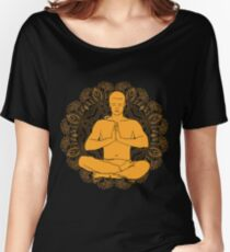 man sitting in the lotus position doing yoga meditation Women's Relaxed Fit T-Shirt