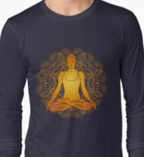 beautiful woman doing yoga meditation Long Sleeve T-Shirt