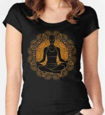 beautiful woman doing yoga meditation Women's Fitted Scoop T-Shirt