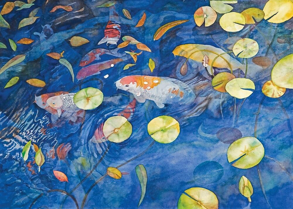 Kodama Koi Pond Watercolor by Gayle Mahoney