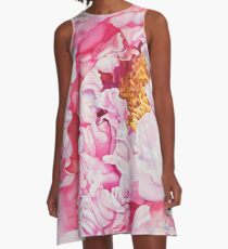 Pink Peony Watercolor A-Line Dress