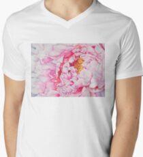 Pink Peony Watercolor Men's V-Neck T-Shirt