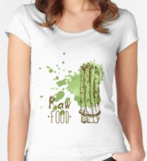 hand drawn vintage illustration of asparagus Women's Fitted Scoop T-Shirt