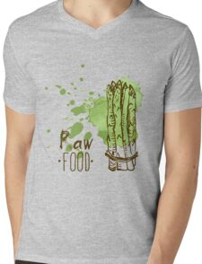 hand drawn vintage illustration of asparagus Mens V-Neck T-Shirt