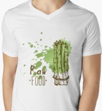 hand drawn vintage illustration of asparagus Men's V-Neck T-Shirt