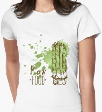 hand drawn vintage illustration of asparagus Women's Fitted T-Shirt