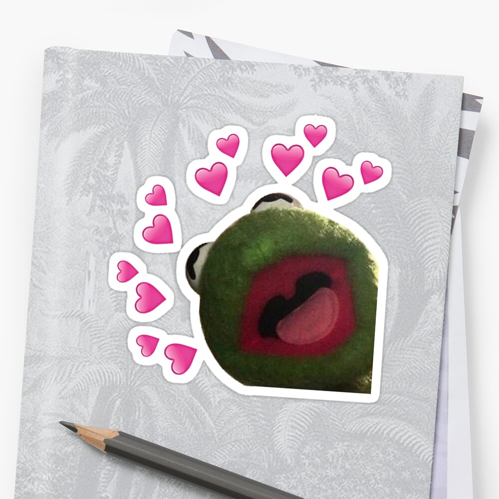 Quot Kermit Heart Meme Quot Sticker By Queentones Redbubble
