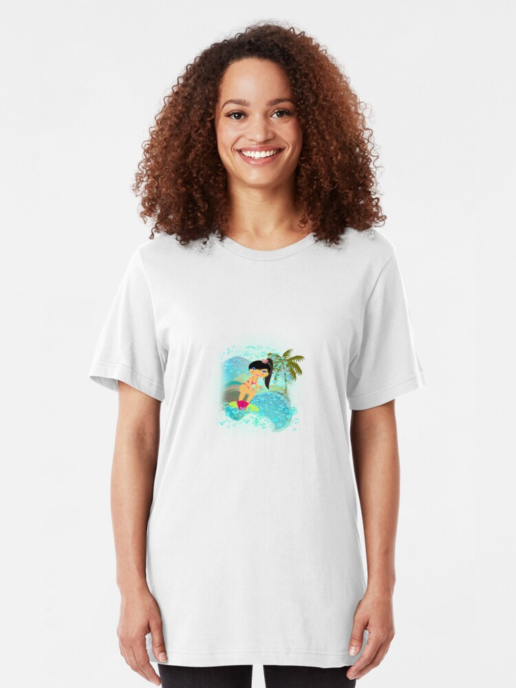Alternate view of TropoGirl - In the Blue Wave Slim Fit T-Shirt