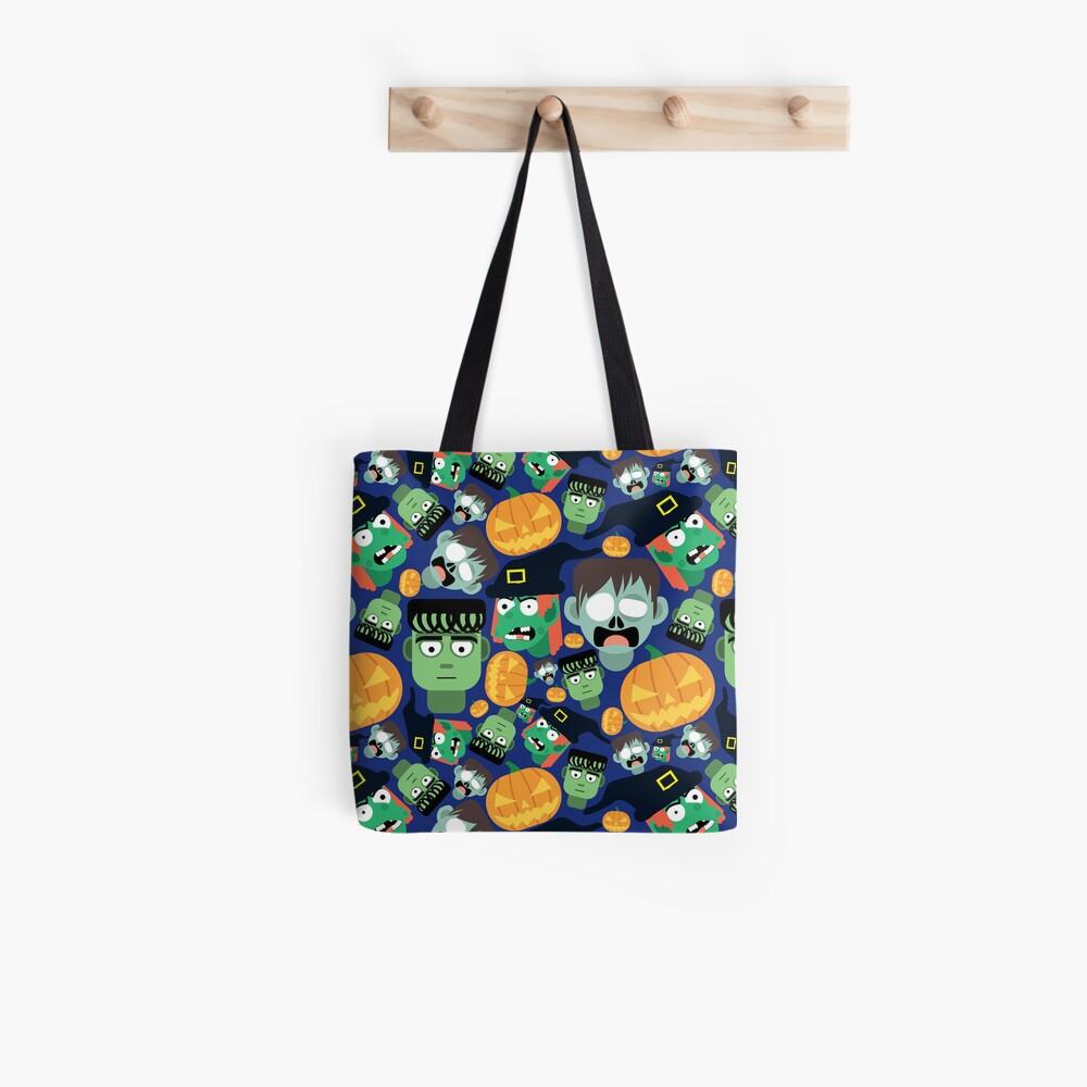 Halloween Pattern Tile (dark blue) Tote Bag