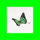 Green Border Butterfly Pillow by Kevin Dellinger