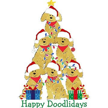 Holiday GoldenDoodle Puppy Christmas Tree by emrdesigns