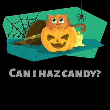 can i haz candy funny cat halloween novelty merch by Lunaco