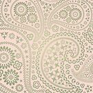 Gold and Soft Pink Paisley Pattern by Tee Brain Creative