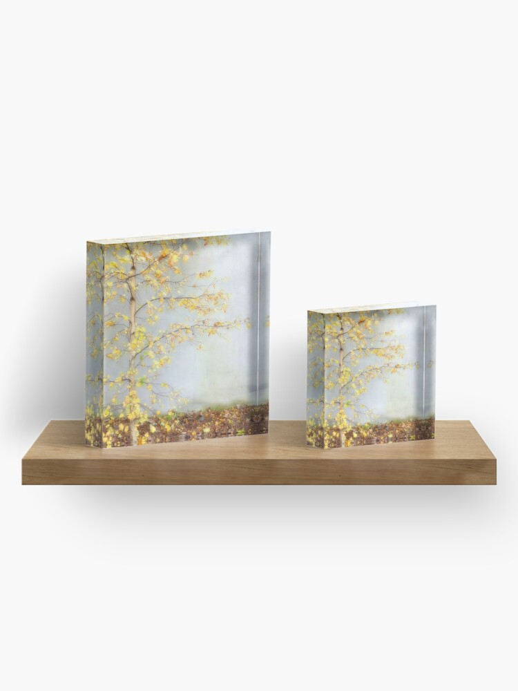 Alternate view of Yellow Leaves Acrylic Block