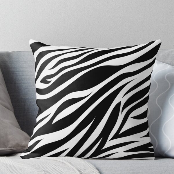Zebra Animal Print in Black Throw Pillow