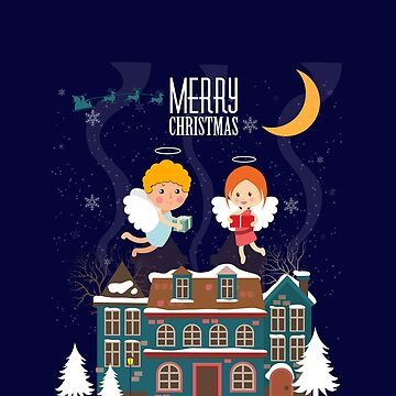 Cute Little Angels AboveThe House Merry Christmas And Happy New Year by overstyle