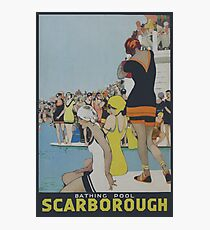 Scarborough England, Pool, Vintage Travel Poster Photographic Print