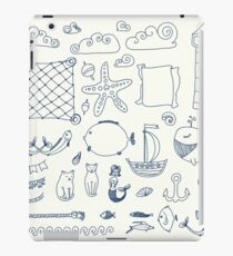 set cute retro sea objects collection. vector illustration iPad Case/Skin