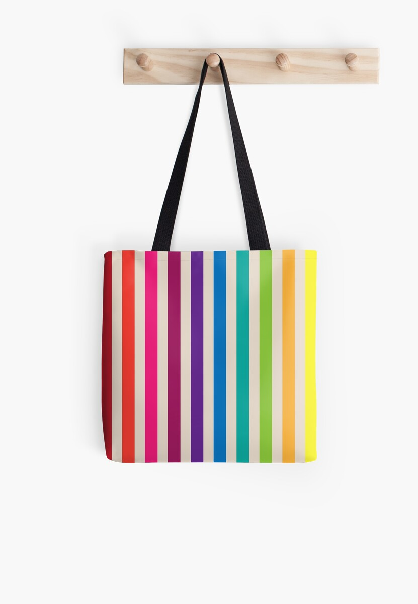 """Multi-Colored Rainbow Candy stripes pattern"" Tote Bags by ..."