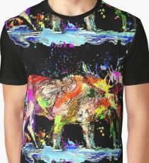Colorful Moose Graphic T-Shirt