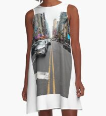 building, architecture, city, skyscraper, office, business, buildings, sky, urban, glass, downtown, tower, skyline, tall, cityscape A-Line Dress
