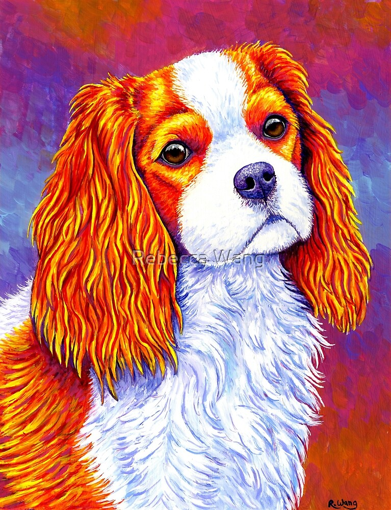Colorful Cavalier King Charles Spaniel Dog by Rebecca Wang