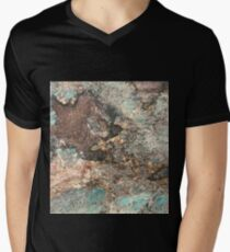 Turquoise and Fawn-Brown Marble Men's V-Neck T-Shirt