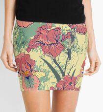 SeaSeamless pattern with decorative  iris flower in retro colors. mless pattern with decorative  iris flower in retro colors.  Mini Skirt