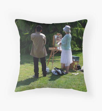 Artist and Admirer Throw Pillow