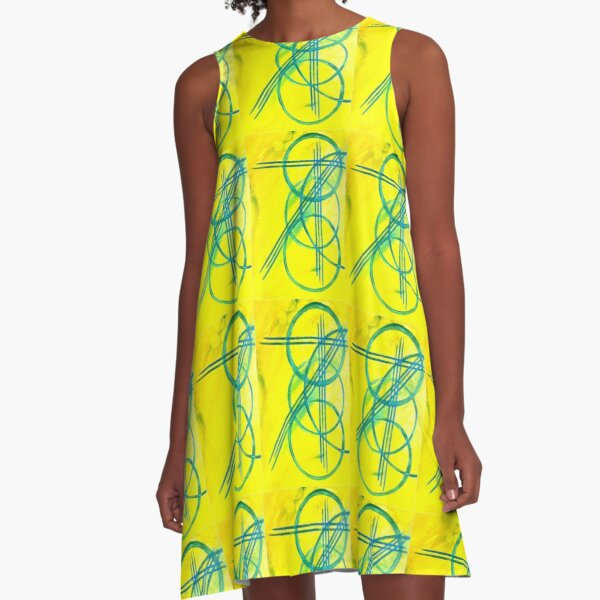 Yellow Cross Strike A-Line Dress