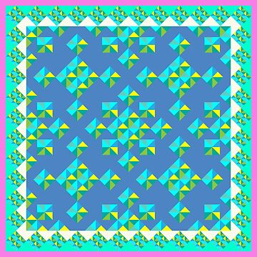 Abstract Colorful Geo Diamond Pattern with Border in Pink/Aqua/Blue by IcArtsyOrigin8