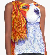 Colorful Cavalier King Charles Spaniel Dog Contrast Tank