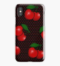 Polka dots and Cherry Pattern in Black iPhone Case/Skin