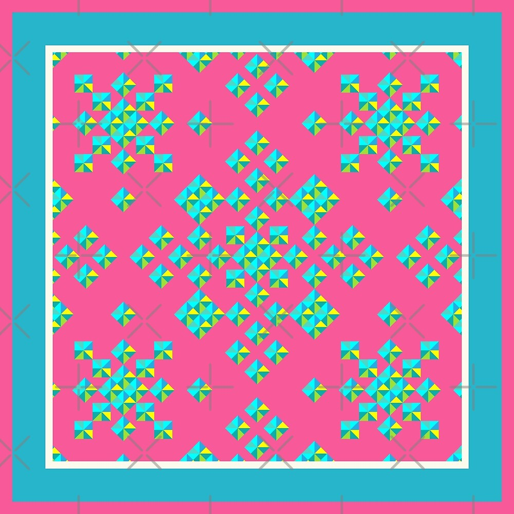 Abstract Colorful Geo Diamond Pattern With Border In Rose