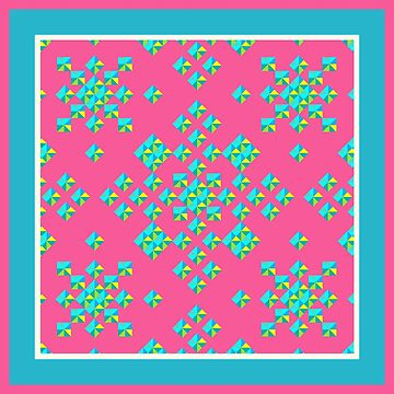 Abstract Colorful Geo Diamond Pattern with Border in Rose/Turquoise by IcArtsyOrigin8