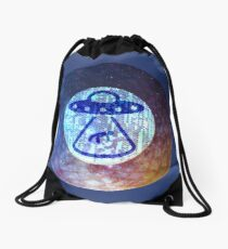 UFO Alien Abuduction Graphic Drawstring Bag