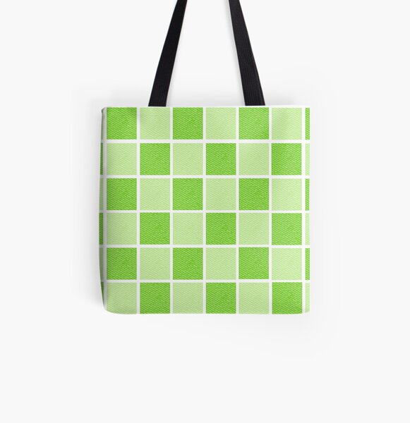 Green Blocks All Over Print Tote Bag
