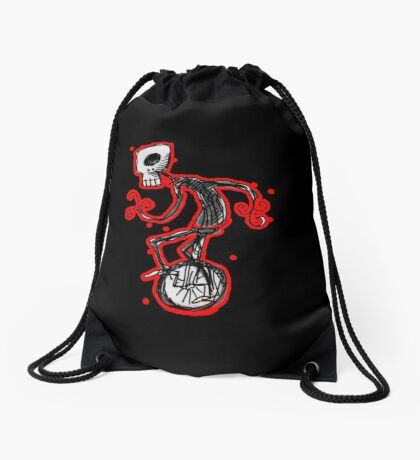 cyclops on a unicycle Drawstring Bag