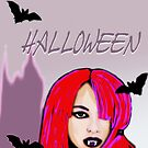 Halloween for fun--gIrly vampire with bats  by Marilyns