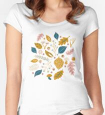 Fall Foliage in Gold + Blue Women's Fitted Scoop T-Shirt