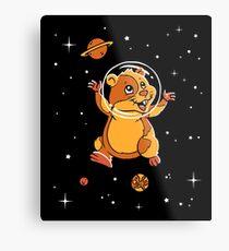 Hamster In Space T-Shirt - Cute Cartoon Rodent Metal Print