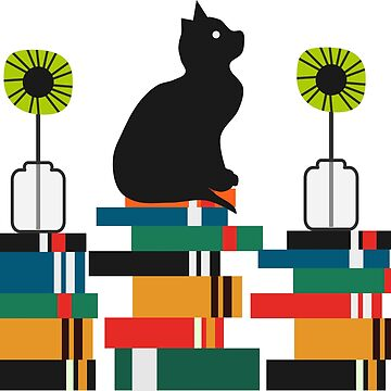 Cat, books and flowers by cocodes