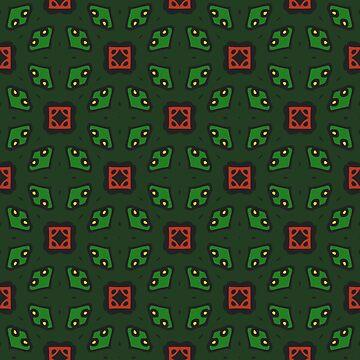 Geometric pattern green retro style by xsylx